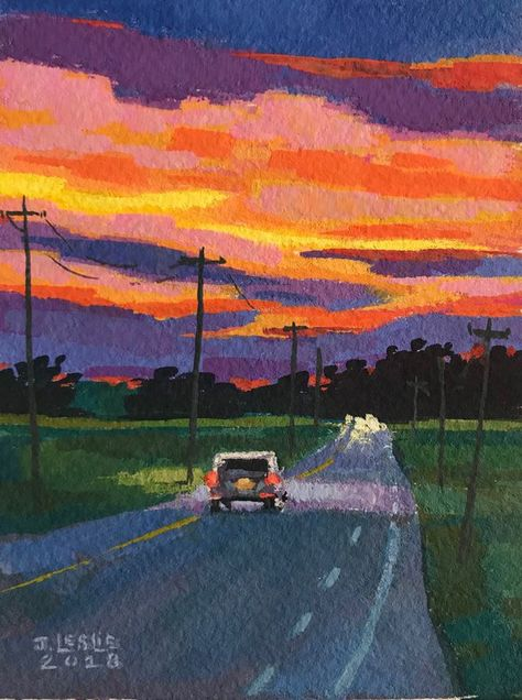 """""""Sunset Over Ohio Cornfields"""" by Jimmy Leslie. Gouache painting on Paper, Subject: Landscapes, sea and sky, Impressionistic style, One of a kind artwork, Signed on the front, Size: 7.62 x 10.16 x 0.25 cm (unframed), 3 x 4 x 0.1 in (unframed), Materials: gouache"""