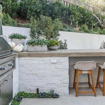 White Brick Outdoor Kitchen With Concrete Countertop Concrete