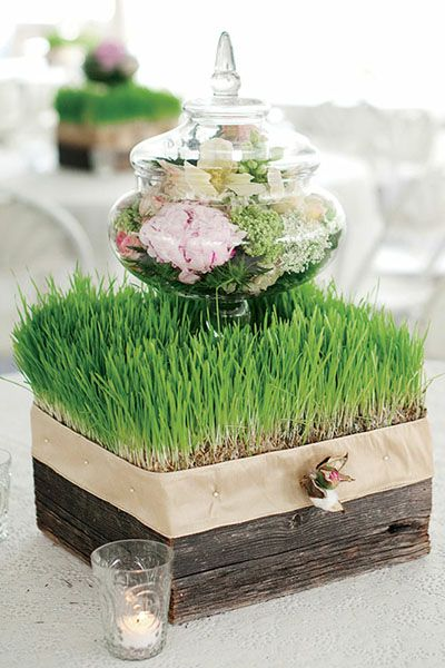 #Spring #Wedding Flowers in an apothecary jar for a simple but chic #centerpiece
