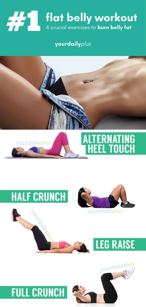 Try this simple 4 exercise home flat belly routine that will burn off tummy fat and motivate you with your weight loss goals!