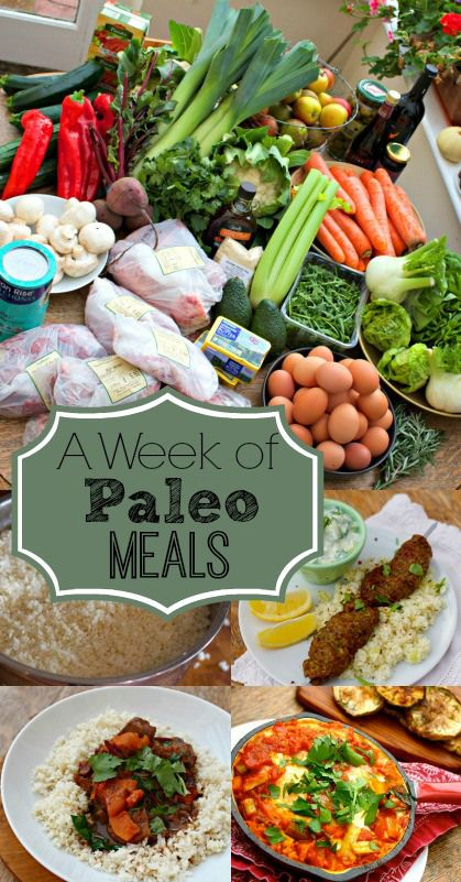 A Week of Paleo Meals from And Here We Are... What a week of paleo meals looks like, practically speaking– includes three meals a day for three people, on a budget.