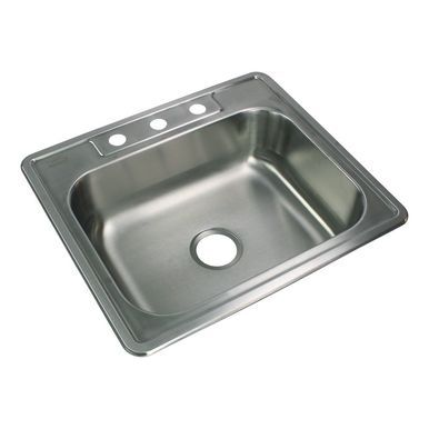 Transolid Stsb25226 3 Select 25in X 22in 22 Gauge Drop In Single Bowl Kitchen Sink With 3 Faucet Holes Transolid Single Bowl Kitchen Sink Drop In Kitchen Sink