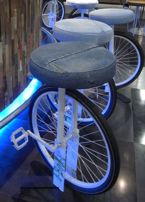 for people on the go - #upcycled bicycle seats upholstered w/ #salvaged surplus denim