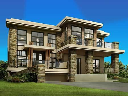 Plan 81637AB Cutting Edge Contemporary House Plan Garage plans