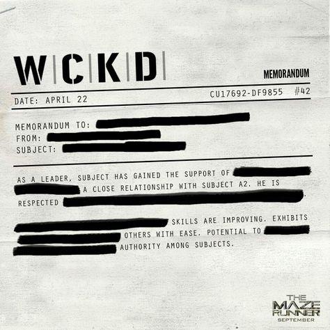 The memorandum of WCKD The Maze Runner Pinterest Maze runner - memorandum
