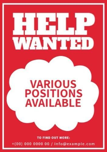Red And White Help Wanted Various Positions Available Template
