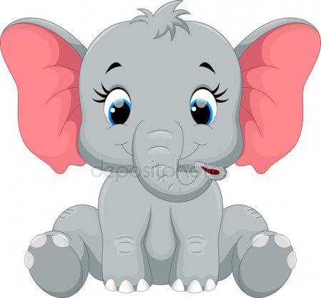 Dibujos Animados De Elefante Lindo Bebe Sentado Elefantungar Elefant Sota Saker Att Rita