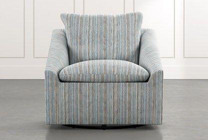 Cypress Ii Light Blue Striped Swivel Accent Chair In 2020 Swivel Accent Chair Accent Chairs Joybird Furniture
