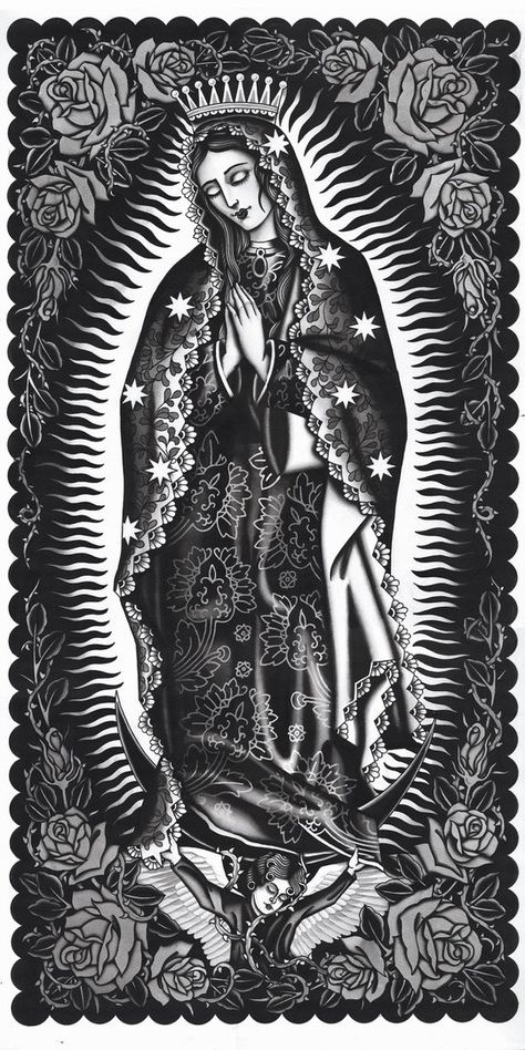 Artist: J. Watkins Aces Over Eights Tattoo, Petaluma, California GICLEE - archival inkjet print on German etching paper Printed at Mindzai Creative in Austin, Texas Virgen Maria Tattoo, Tattoo Virgen, Virgin Mary Painting, Virgin Mary Art, Chicano Tattoos, Chicano Art, Arabic Tattoos, Mother Mary Tattoos, Mexican Tattoo