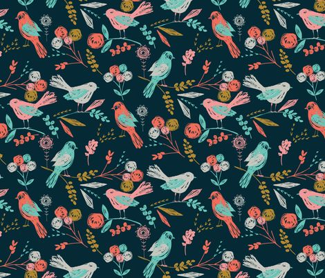 Bloom Birds fabric by bethan_janine on Spoonflower - custom wallpaper! pretty pretty pretty! I want this sooo bad AS WALL PAPER but the husband would die of embarrassment, so gift wrap will have to do.