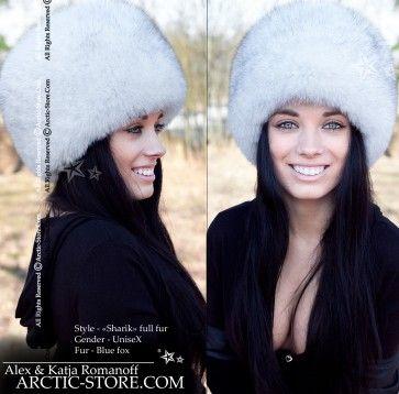a3f2fbb0a92c3 Blue fox hat - russian white fur shapka
