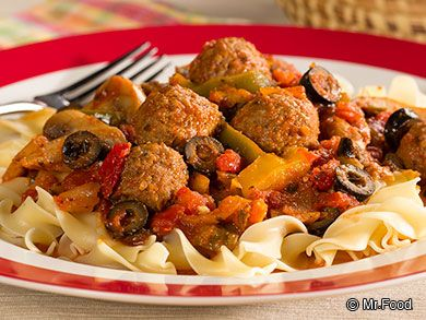 Meatball Cacciatore - This Italian-style dinner is simple enough to make during the week 'cause it only takes 30 minutes to cook!
