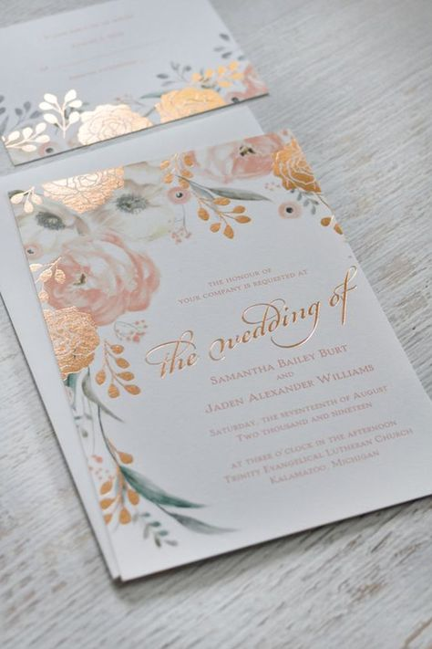 Rose gold + watercolor floral wedding invitation from Invitations by Dawn.