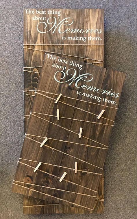 NEW DESIGN created and inspired by my best selling Merry Mail Sign! Making Memories Photo Holder Wooden Sign. (Convo for custom quote/lettering) Display all your precious memories with this handcrafted wooden sign. Sign has been stained in general finishes walnut and hand painted