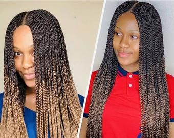 Braided Wigs Lace Front Braids Wig Senegalese Twist Micro Etsy Lace Front Wigs Braids Wig Lace Wigs