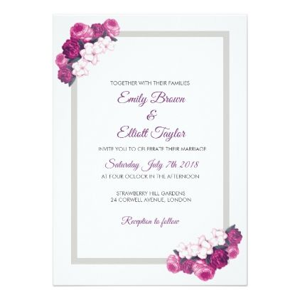 Wedding Invitation In Rectangle Frame With Flowers Invitations Custom Unique Flower Wedding Invitation Simple Wedding Invitations Elegant Wedding Invitations