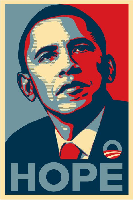 This poster for President Obama is a campaign to try and persuade voters to vote for him.