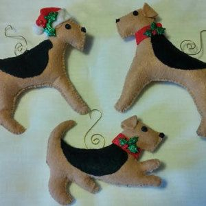 Welsh Terrier Or Airedale Christmas