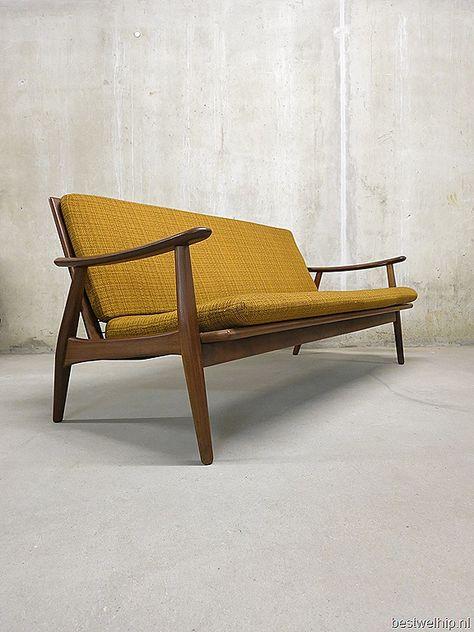 Deens Design Vintage Bank.Scandinavische Lounge Bank Sofa Mid Century Vintage Design