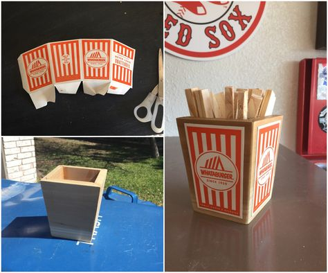 French fry planter, complete with wooden fries for my sis...