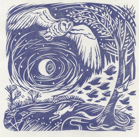 'night flight' - owl, hare, moon - celia hart, linocut