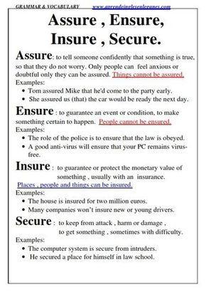 Assure Ensure Insure Secure Multiple Choice Fce Cae Cpe