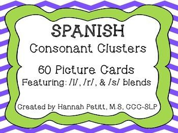 Spanish Consonant Cluster Picture Cards Consonant Clusters