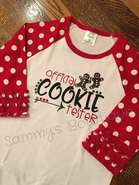 a04ba1056 Girls Official Cookie Tester 3/4 sleeve raglan, cookie teater shirt,  Christmas family shirts, fun gi