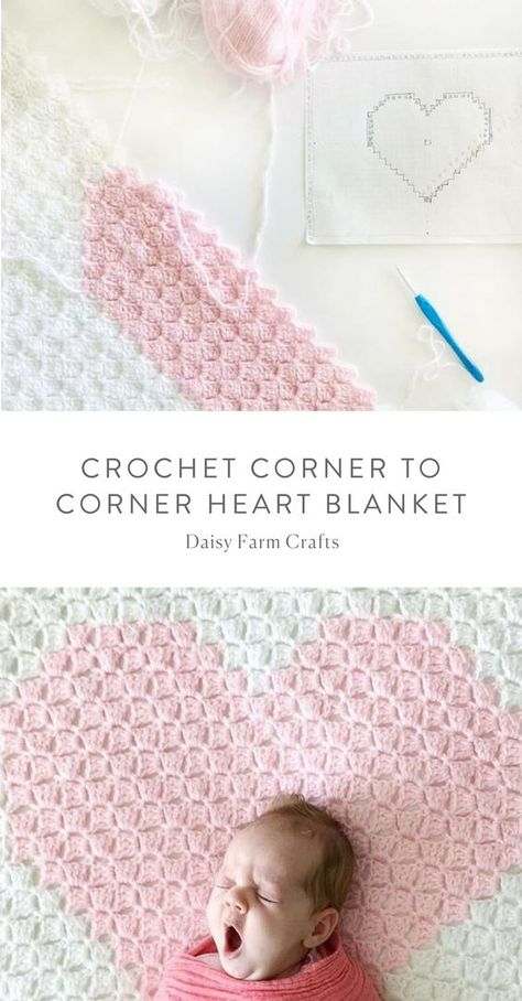 Free Pattern - Crochet Corner to Corner Heart Blanket   crochet bebe ...