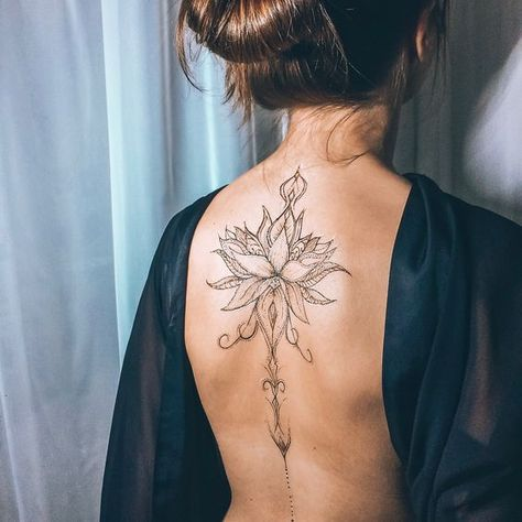 Just a perfect Spine Tattoo Design For Women