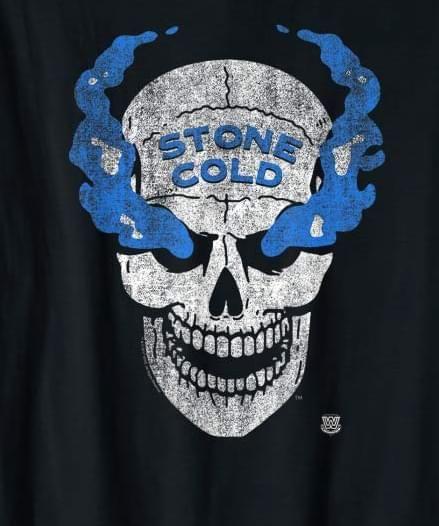 Wwe Stone Cold Distressed Blue Smoke Skull Stone Cold Skull