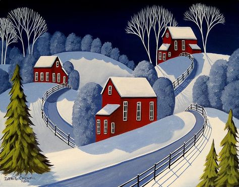 Cardinals snow landscape victorian house  ACEO Giclee folk art print Criswell