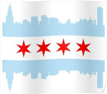 Chicago Flag Skyline Poster In 2020 Chicago Flag Art Chicago Wall Art Chicago Flag