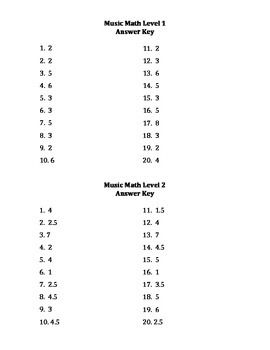 Music Math Levels 1 2 Music Math Music Class Worksheets Math