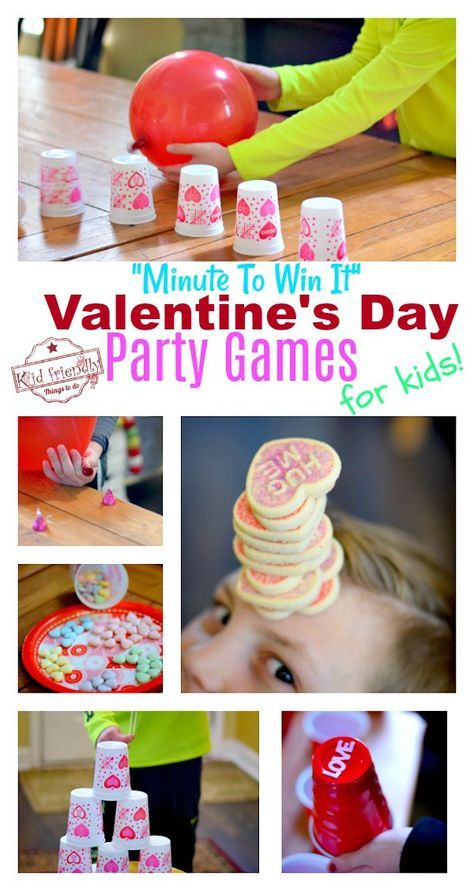 9 Hilarious Valentine S Day Games For Kids Minute To Win It Style Kid Friendly Things To Do Valentines Games Valentines School Valentine S Day Party Games