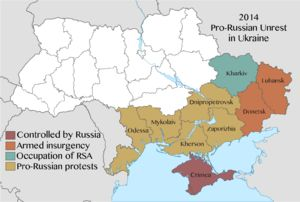 2014 Pro Russian Unrest In Ukraine Map Of Protests By Region