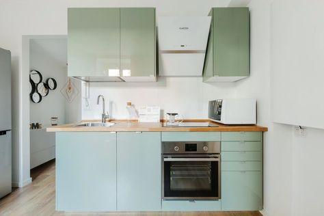 Cocina Con Muebles En Verde Agua Cozinha Pequena Cozinha
