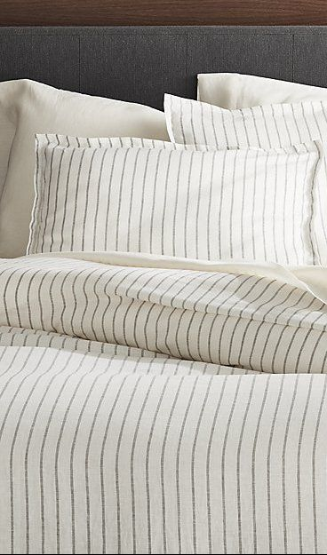 Pure Linen Wide Stripe Warm White Duvet Covers And Pillow Shams Crate And Barrel Bed Linens Luxury Bedding Master Bedroom White Duvet