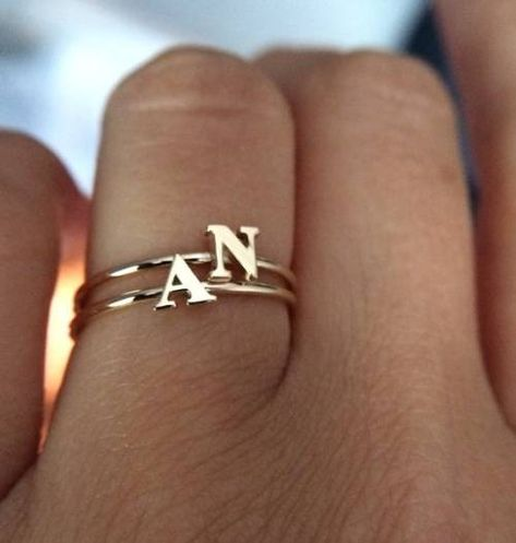 14k solid gold initial ring stackable ring name ring by NOSTALGII
