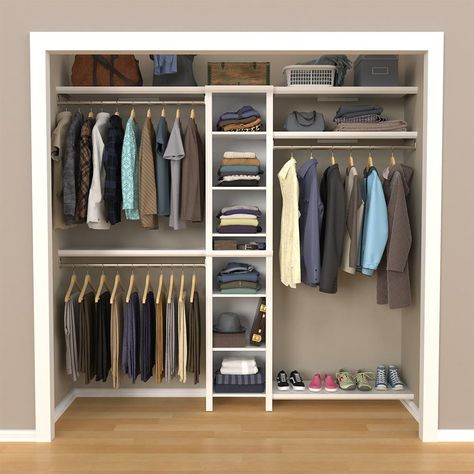 Include charm and grandeur to your bedroom decor by choosing this excellent ClosetMaid Impressions Basic Closet System in White. Bedroom Closet Storage, Bedroom Closet Design, Small Closet Organization, Master Bedroom Closet, Closet Designs, Closet Shelves, Small Master Closet, Organize Bedroom Closets, Organization Ideas
