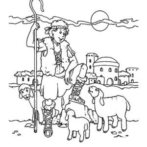 David The Shepherd Boy Hold His Sheep Coloring Pages Kids Play Color Coloring Pages For Boys Coloring Pages Bible Coloring Sheets
