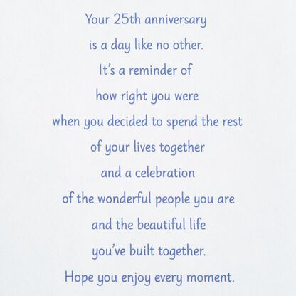 For A Special Couple 25th Anniversary Card Greeting Cards Hallmark 25th Anniversary Quotes Anniversary Card Sayings Happy Anniversary Quotes
