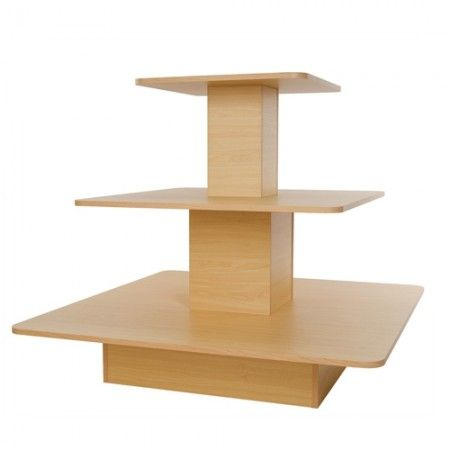 3 Tier Square Display Table In 2020 Maple Tables Steel Shelving Wood Shelving Units