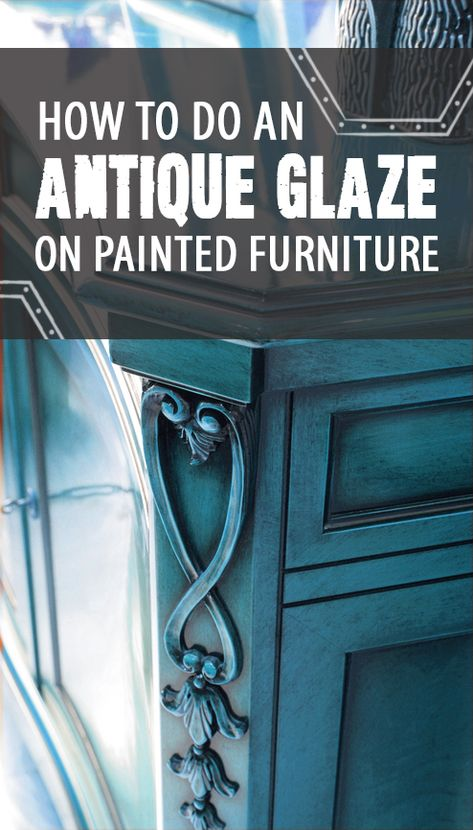 How to Do an Antique Glaze on Painted Furniture. Using black paint, a glazing medium and a few drops of water, you can create a dark, antiqued effect in the cracks and corners of your piece. More on the web site.