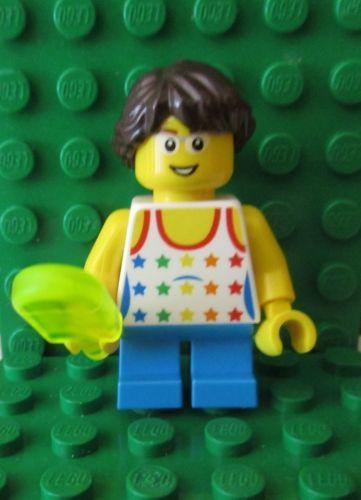 Boy Kids Minifigure w// White Lime Green Polo Shirt /& Yellow Tousled Hair LEGO