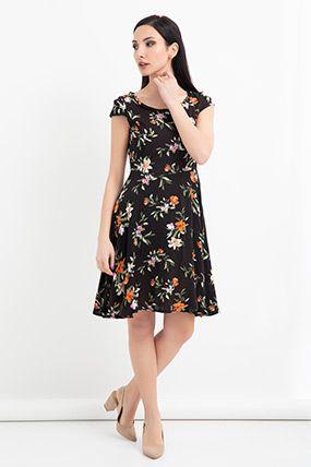 Hnz 011 Sirt Fermuarli Desenli Klos Elbise Elbise Modelleri Elbise Modelleri