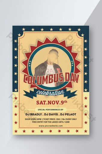 Columbus Day Celebration Flyer Template Ai Free Download Pikbest In 2020 Flyer Template Flyer Teachers Day Poster