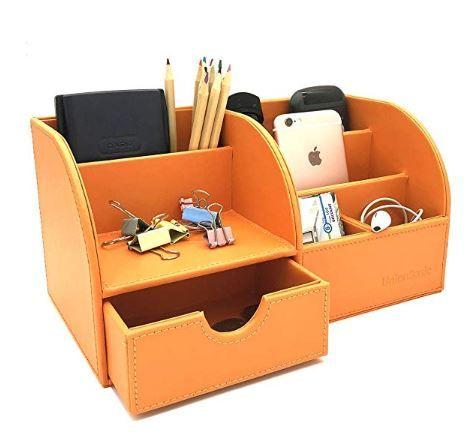 Unionbasic Office Desk Organizer Multifunctional Pu Leather Desktop Storage Box Business Card Pen Pencil Mobile Ph Desk Organization Desktop Storage Office Desk