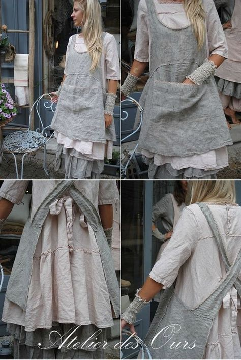 57 Creative Casual Style Outfits To Look Cool And Fashionable - Global Outfit Experts Sewing Aprons, Sewing Clothes, Diy Clothes, Look Fashion, Diy Fashion, Retro Fashion, Vintage Fashion, Estilo Hippie, Linen Apron