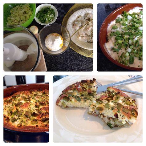Venkel-kabeljauw frittata Ingrediënten; ei, bloem, crème fraiche, zout en peper, venkel, ui, bosui & bieslook, kabeljauw, roomboter.Ei scheiden, eiwit stijf kloppenEi geel met bloem, zout en peper mengen. Voeg 50 dl room toeMeng beide ei-mengsels door elkaar.Venkel en ui fijn snijden; smoor kort in boterSnij de kruiden (incl evt' pluim' van venkel) fijnSnijd de vis in blokjesVul de overschaal; laag groente - laag vis - ei mendel - kruiden30 minuten in oven op 200 gr C.Leuke, snelle frit...